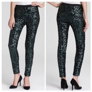 French connection green sequin leggings
